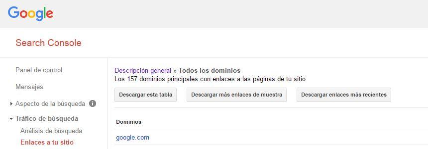 enlaces google search console