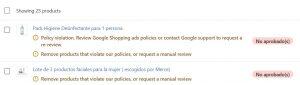 Aprobación feed en Shopify