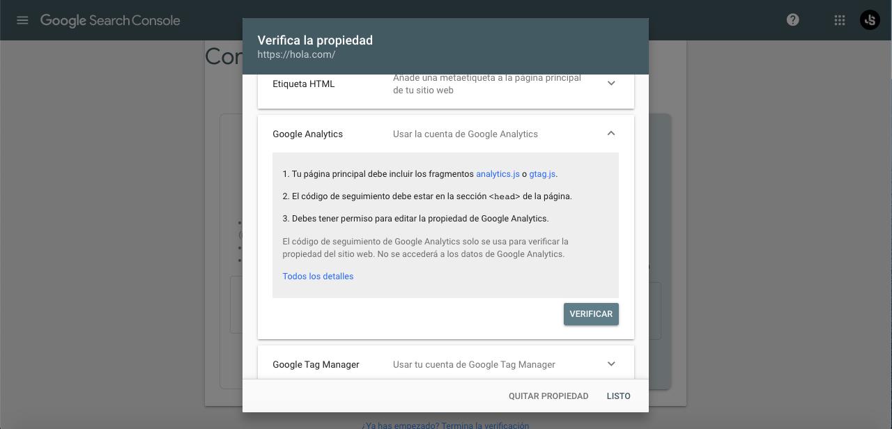 Verificar propiedad con Google Analytics