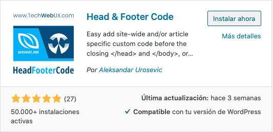 Plugin Head & Footer Code