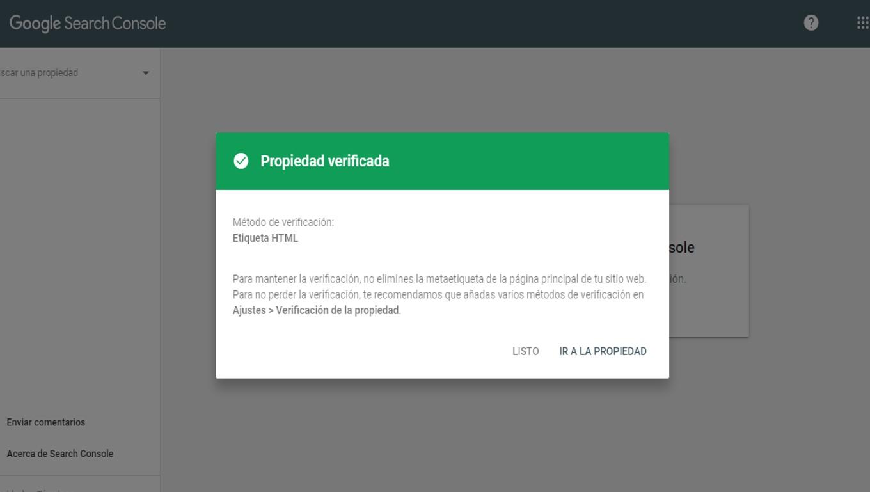Mensaje verde propiedad verificada GSC