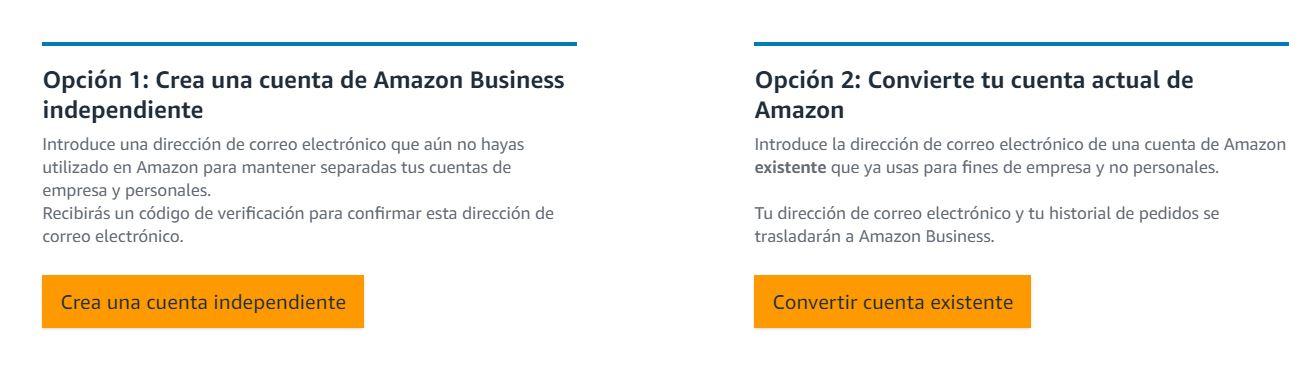 Crear cuenta en Amazon Business