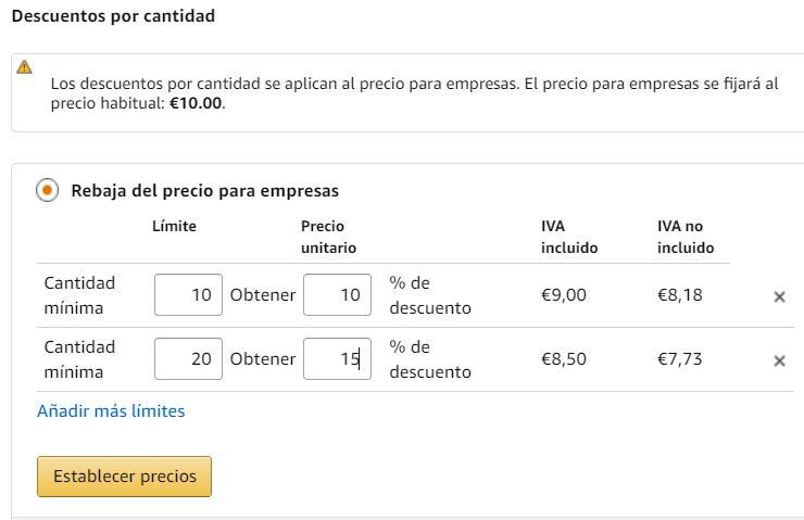Descuento por cantidades Amazon Business