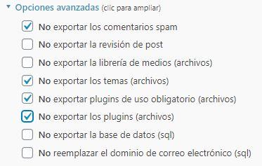 Opciones avanzadas de Exportación WordPress