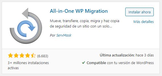 Plugin migracion wordpress